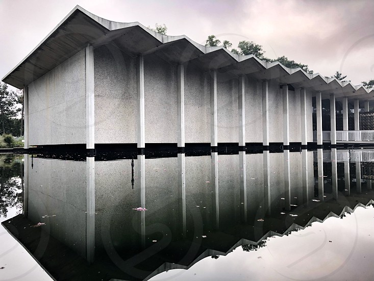 Reflection cloudy architecture dc national arboretum minimalist calm lines angles white  photo