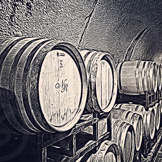 Wine barrels in a cave Napa CA photo