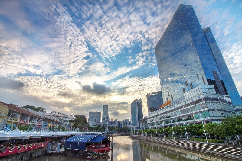 morning view of Clarke quay a famous nightlife spot in Singapore photo