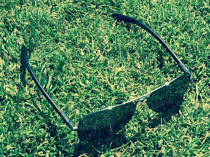 Glasses sunglasses Ray bans metal grass sunny photo