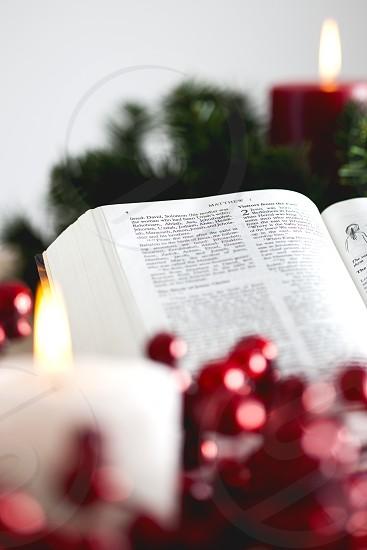 Christmas Bible Candle photo