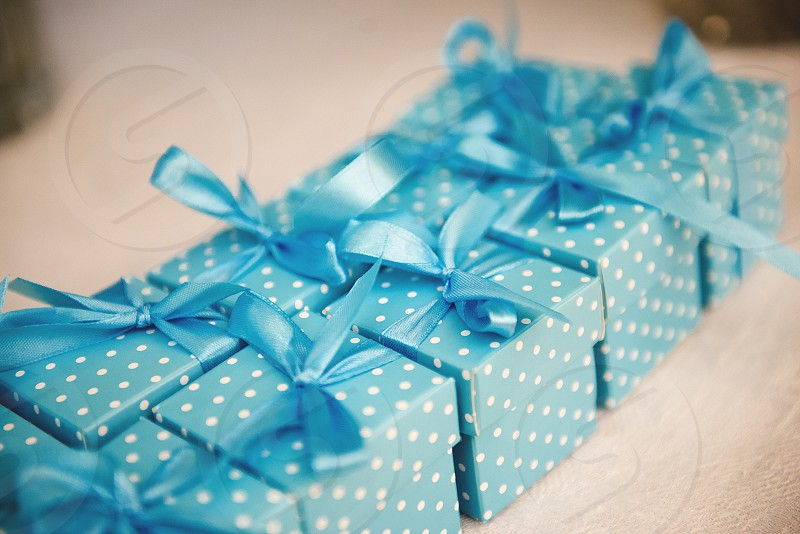 blue gift boxes photo