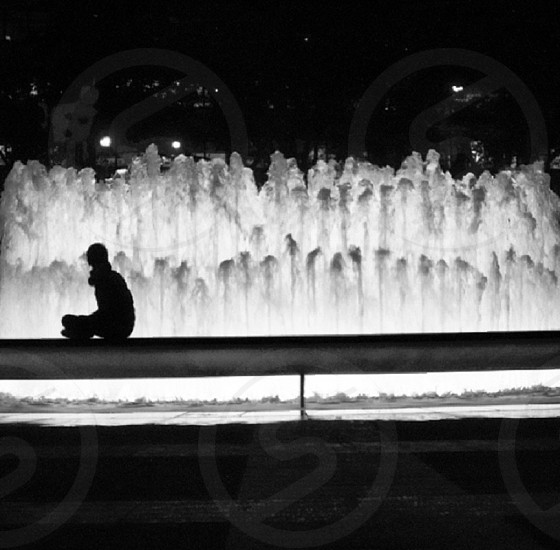 Lincoln Center NYC individual black and white water fountain  photo