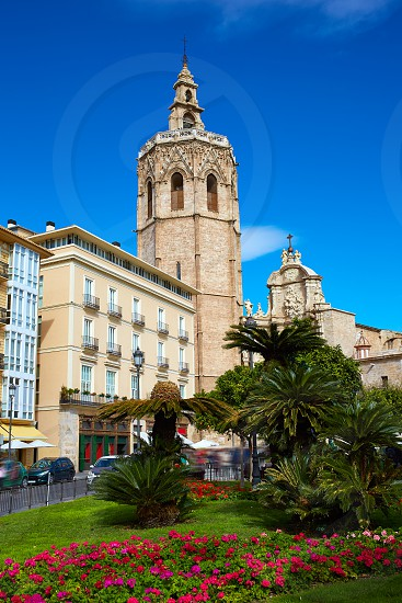 Valencia El Miguelete Micalet in Reina square and Cathedral church photo