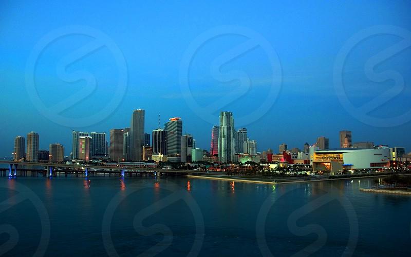 Miami Skyline just before sunrise photo