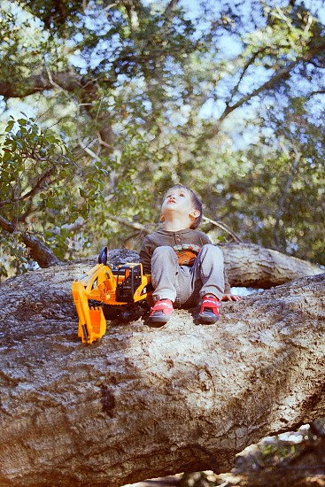 Boy with yellow dozer on a rock looking to the sky photo