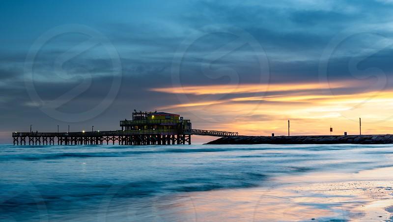 Galveston sunset sea  photo