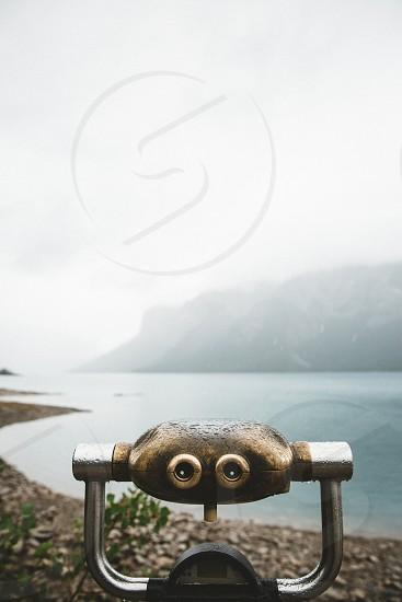 A photo in the rain at lake Minnewanka Banff. photo