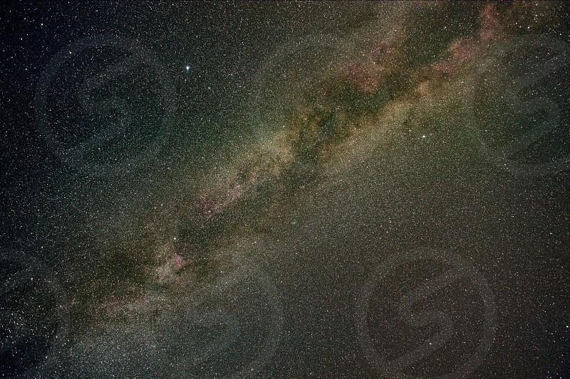 Milky way stars in summer night shot photo