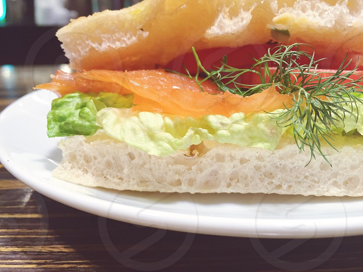 sandwich comfort food lox salmon bread photo