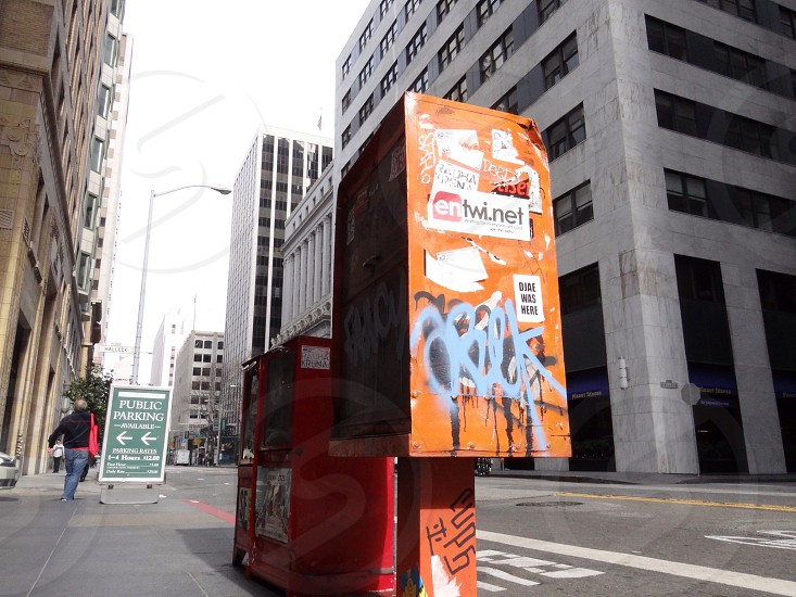 orange phone booth  photo