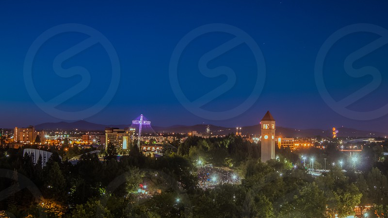 Spokane Washington at twilight.  photo