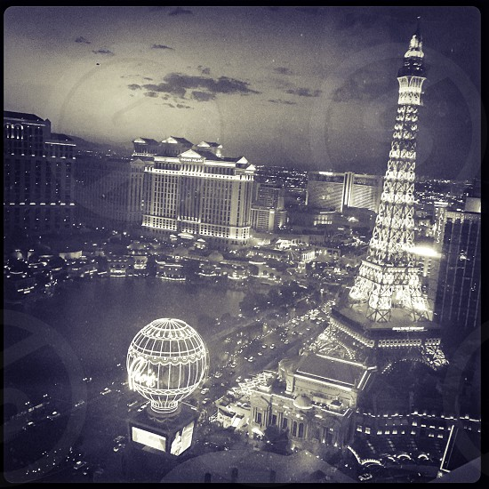 Outdoor night horizontal Landscape square filter black and white monochrome neon lights Las Vegas Vegas Nevada NV Paris Casino Eiffel Tower Balloon Hot Air Balloon glow shine glowing caesar's palace Bellagio US USA United States America North America Party Road Trip Travel Tourism Tourist Wanderlust Planet Hollywood photo