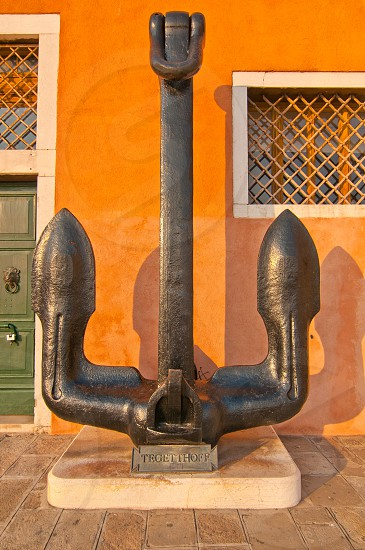Venice Italy Naval museum front view with the enormous anchors at sestriere of Castello photo