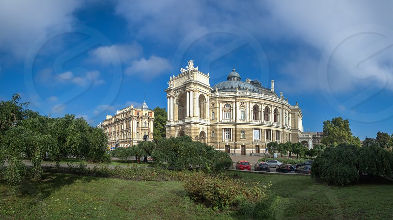Odessa Ukraine - 09.12.2018. Odessa National Academic Theater of Opera and Ballet in Ukraine. Panoramic view in a summer day photo