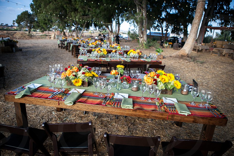 Dining tables set for an outdoor semi-formal event on a farm. photo