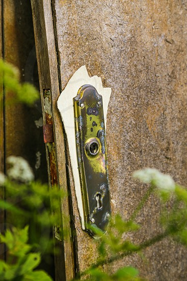 Key door old junk trashed doors backyard backyards background backgrounds lock open entré outdoors nature Woods wallpaper tree wooden  wildgarden garden vintage photo