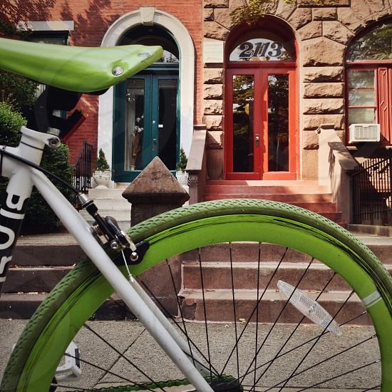 white and green mountain bike photo