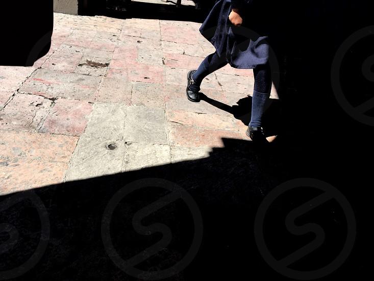Street Photography shadows lights schoolgirl  photo