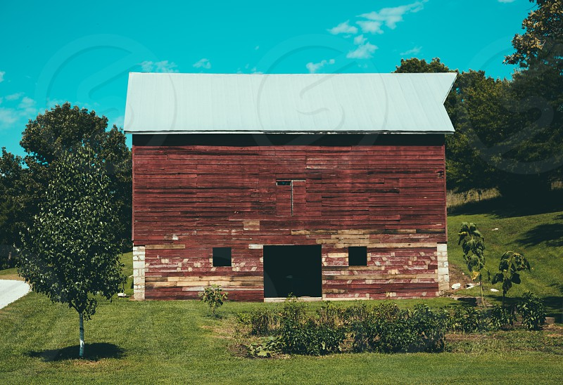 brown and white barn photo
