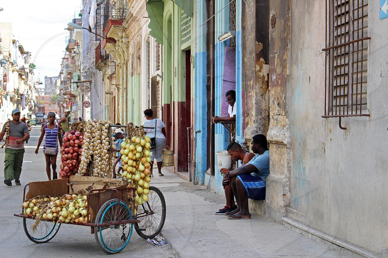 Cuba Havana February 10 2018: a typical day in one of the streets of Havana when local people sell their good in the streets to the inhabitants or tourists they are usually friendly and talkative photo