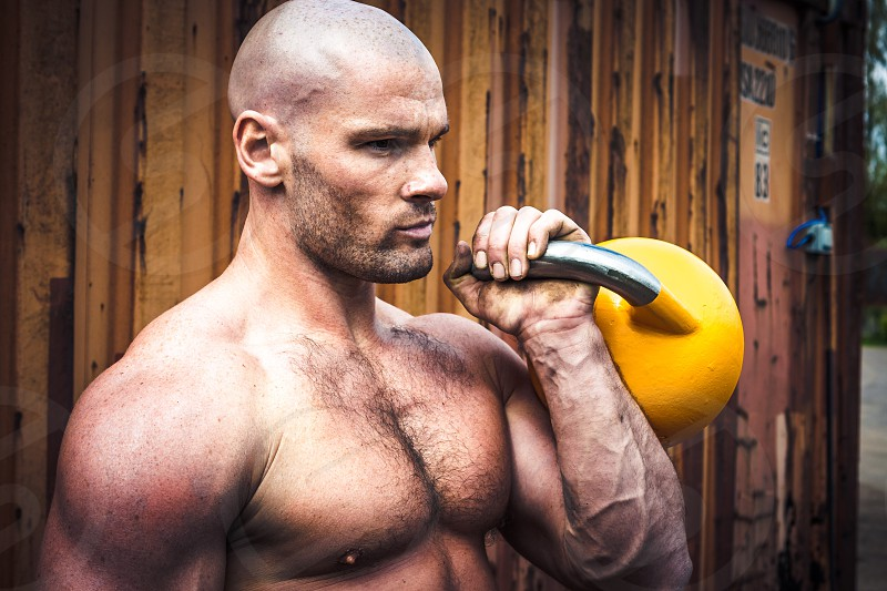 Workout with kettlebell photo