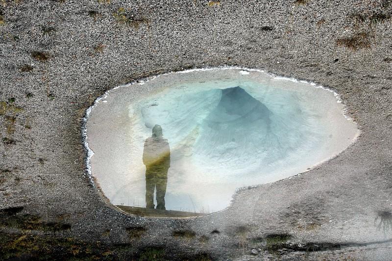 Yellowstone national park reflection alone photo
