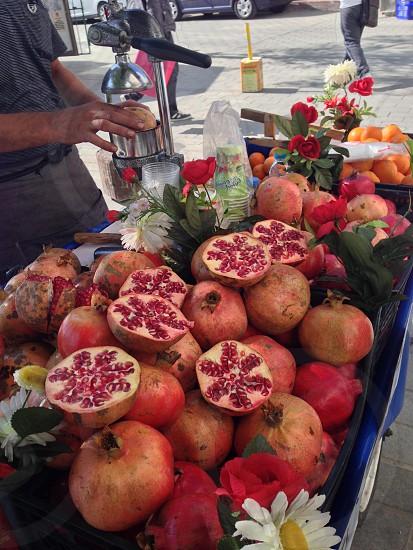 Fruit pomegranate Turkey street food sweet ripe red photo