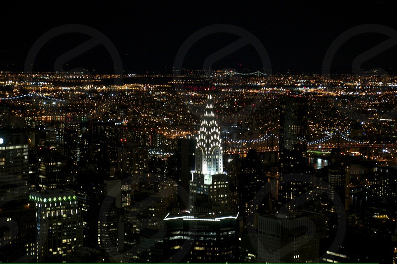 Chrysler Building New York City buildings architecture night skyline lights photo