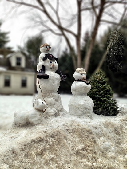 snowman beside the green christmas tree photo