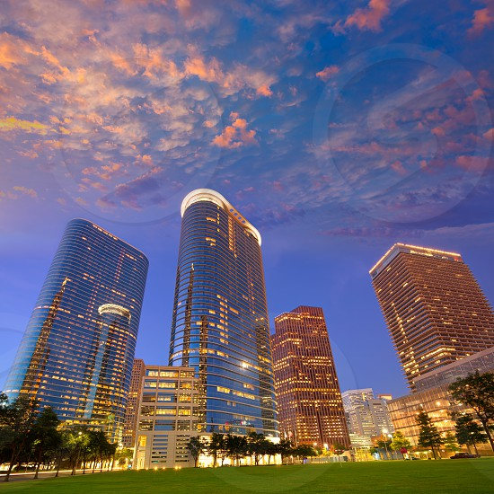 Houston Downtown skyline sunset modern skyscrapers at Texas US USA photo