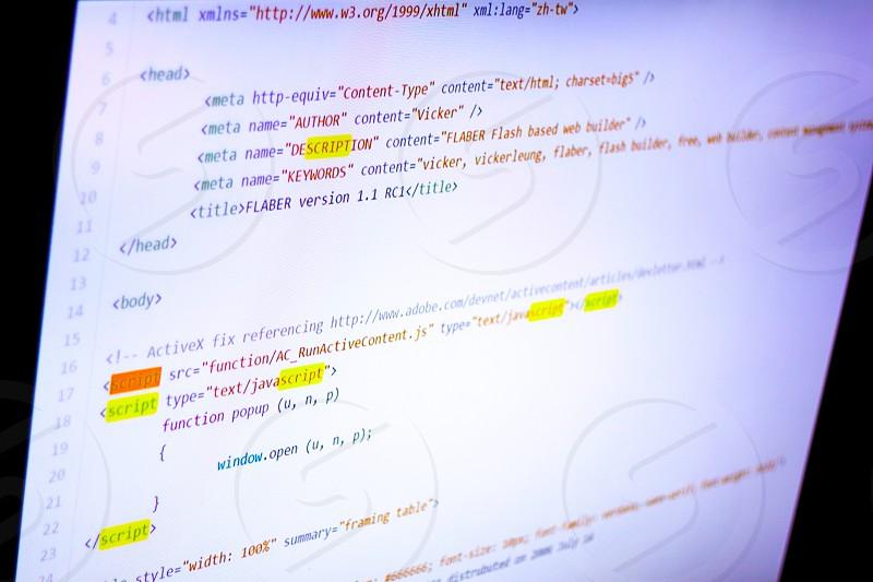 Computer Screen HTML Source Code photo