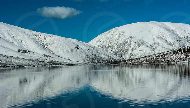 Lake Lyndon in Winter.  Southern Alps New Zealand photo