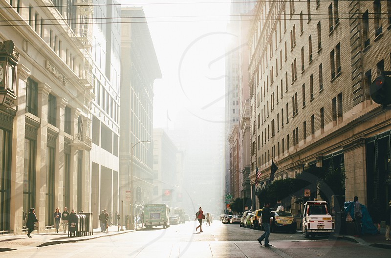 Golden hour light in San Francisco's Financial District. photo