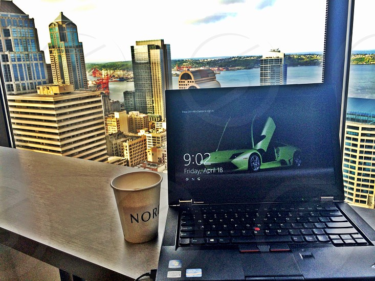 Work view Seattle coffee photo