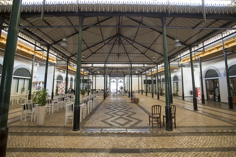 the old Market Hall in the old town of Tavira at the east Algarve in the south of Portugal in Europe. photo