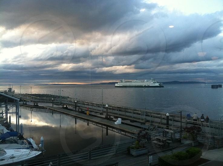 Edmonds Ferry dock gray skies clouds photo