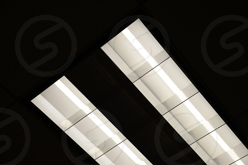fluorescent lighting in an office building. photo
