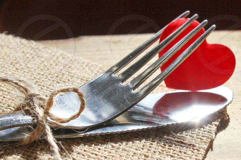 Cutlery knifefork restaurant heart love food passion valentines dating romance photo