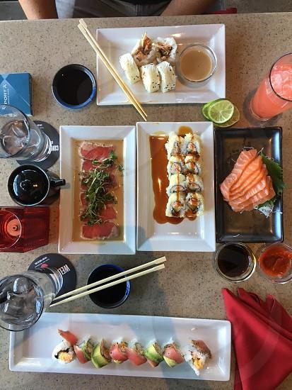 Sushi fresh fish sashimi table dining restaurant  photo