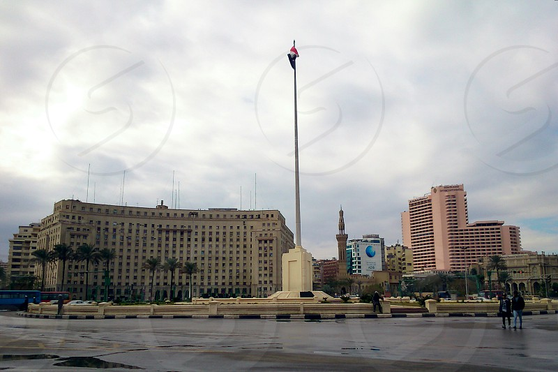 Tahrir Square on a rainy day Cairo. photo