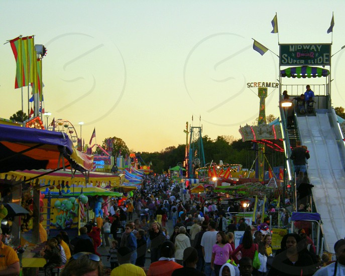 Busy fair midway photo