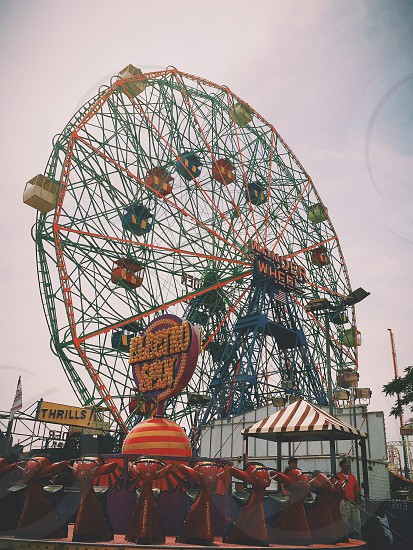 red and blue wonder wheel amusement ride photo
