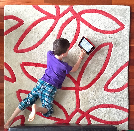 boy in purple shirt and white and blue plaid pants playing tablet computer on white and red floral carpet in high angle photography photo