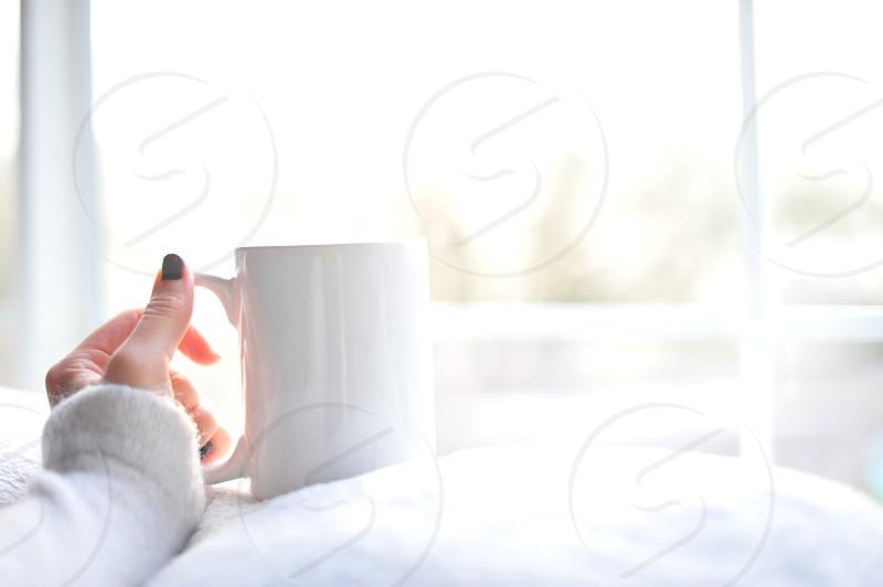 girl drinking coffee lipstick on coffee cup coffee mug girl sipping coffee sipping coffee photo