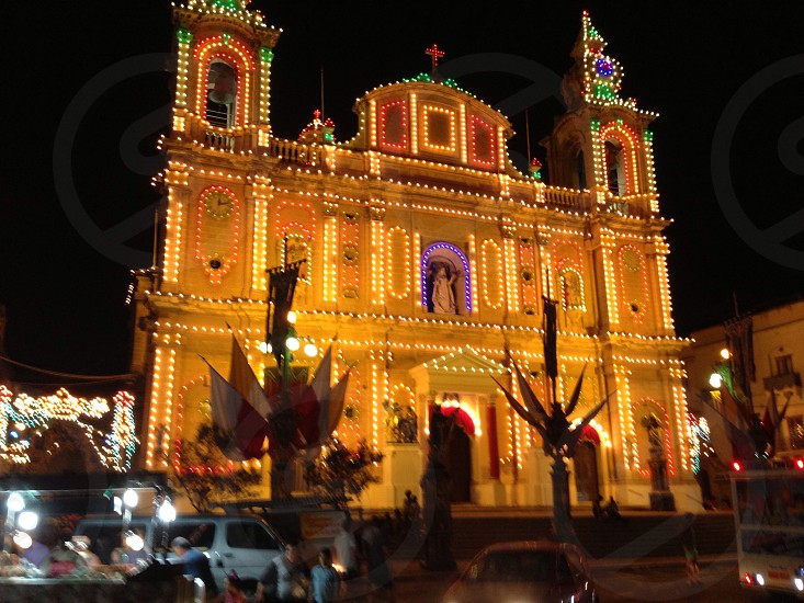 Maltese church lit up for a festival  photo
