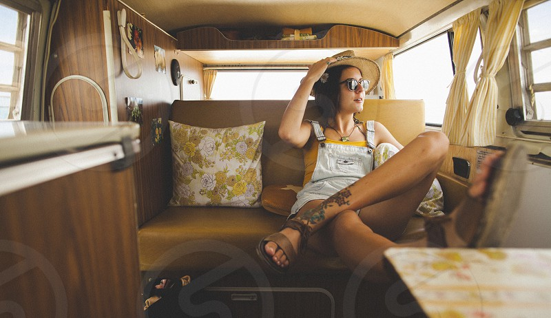 Volkswagen VW bus vanlife adventure road trip retro yellow vintage summer  photo