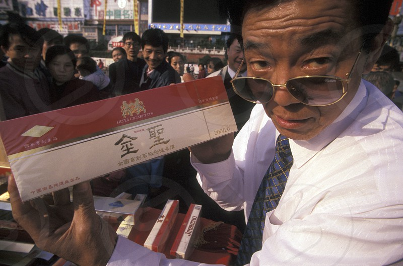 a alkohol and tabaco Fair in the city of Nanchang in the provinz Jiangxi in central China. photo