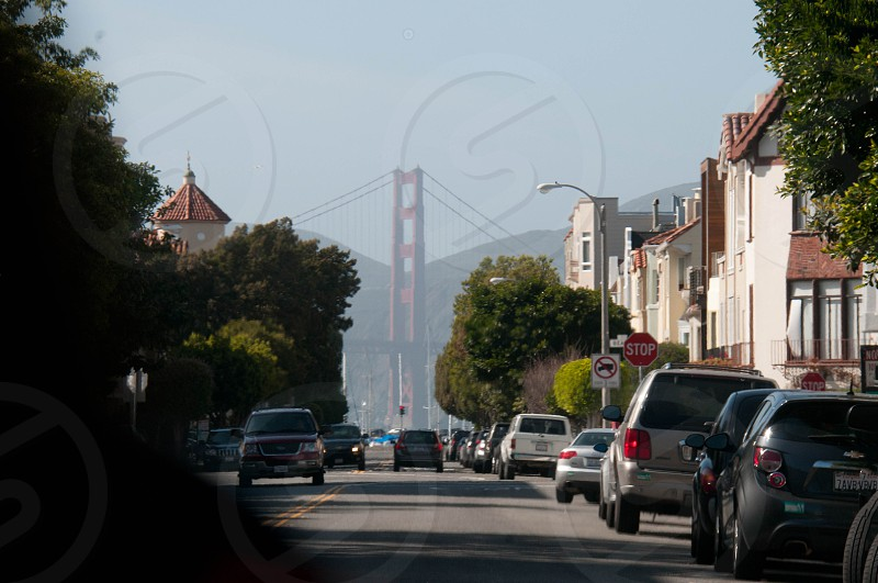 View of the Golden Gate Bridge from the streets of San Francisco photo