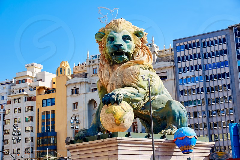 Fallas fest figures in Valencia traditional celebration at Spain in March photo